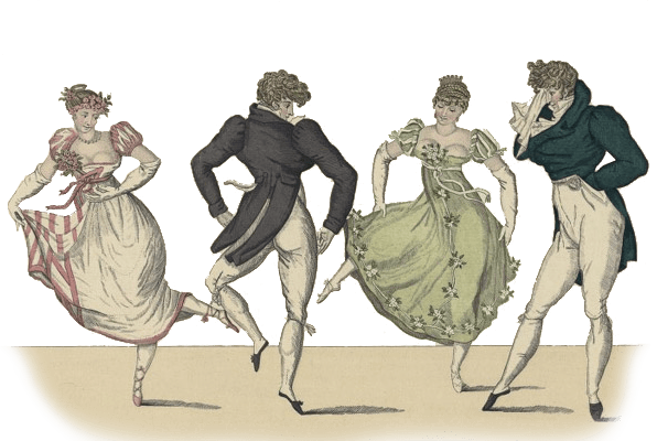 Contradanse, Le Bonne Genre No. 19 -- image of two Regency Era couples dancing