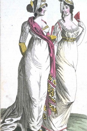 This fashion plate from 'Ladies' magazine of 1801 shows the characteristic high waistline of the time. Museum no. E.249-1955