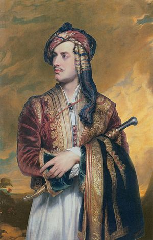 Lord Byron in Albanian dress for the Beau Monde blog