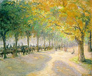Hyde Park by Camille Pissarro, 1890, showing t...