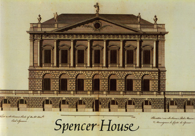 Period print of facade of Spence House