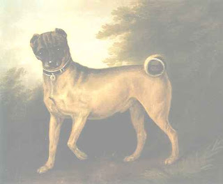 Painting of a pug in a landscape.