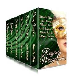 Cover for Regency Masquerades by Brenda Hiatt, Lynn Kerstan, Allison Lane, Gail Eastwood, Alicia Rasley, and Elena Greene